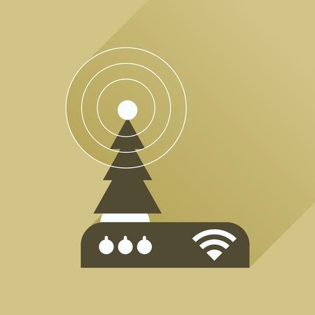 hub computer: Flat icon with long shadow  Wi fi modem Illustration