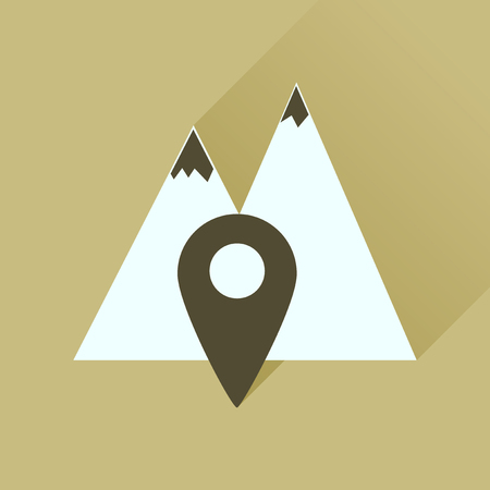 high up: Flat icon with long shadow  mountain location