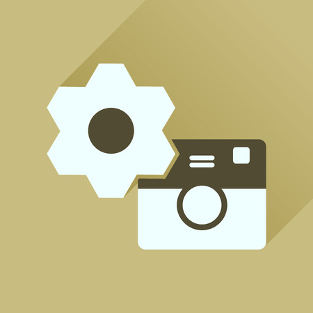 Flat icon with long shadow  camera settings Illustration