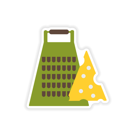 torment: stylish paper sticker on a white background Grater and cheese Illustration
