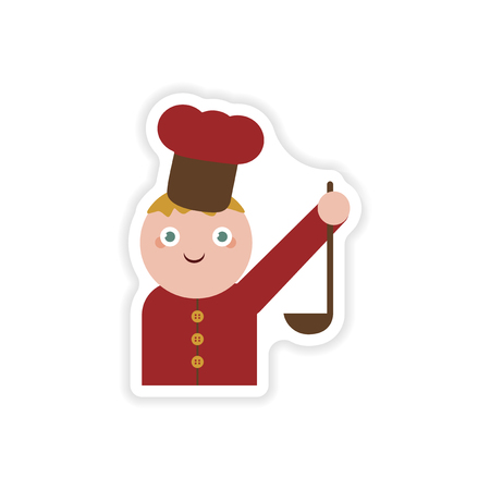 ladle: stylish paper sticker on white background cook with ladle