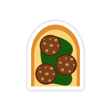 toasted sandwich: stylish paper sticker on a white background sausage sandwich Illustration