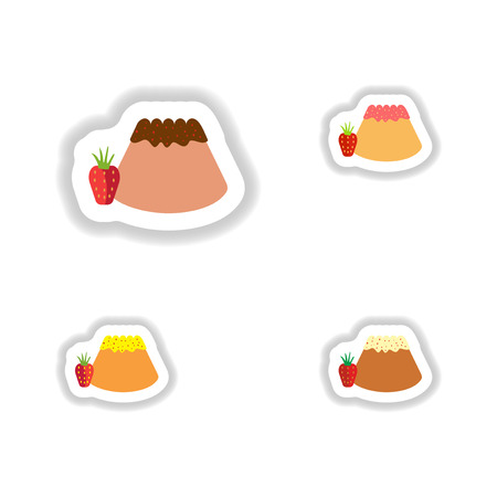 bun: Set stylish paper stickers Bun with strawberries