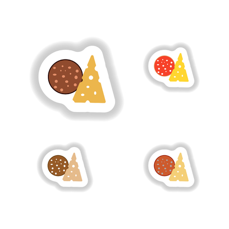 crusty: Stickers set a piece of sausage and cheese