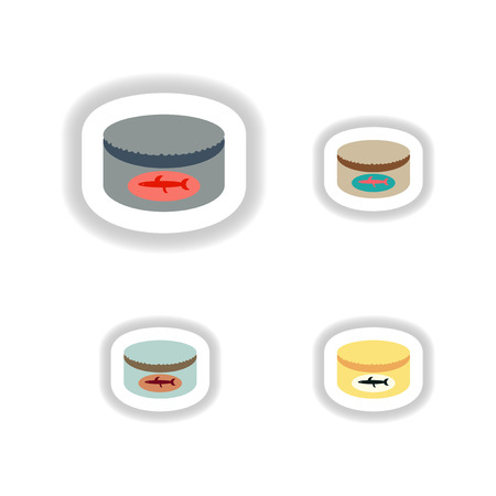 canning: Set stylish paper stickers Bank canning fish