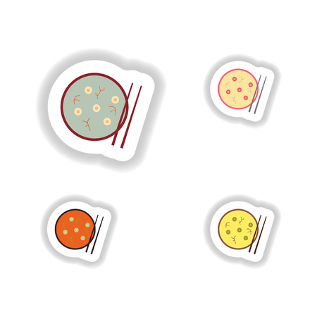deep fried: assembly stickers on white miso soup and sticks