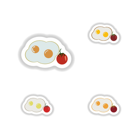 assembly paper stickers fried eggs with tomatoes
