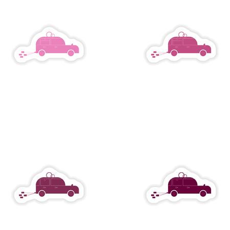 bridegroom: Set of paper stickers on white background  bridegroom car