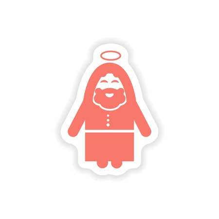 born saint: paper sticker on white background father of Jesus