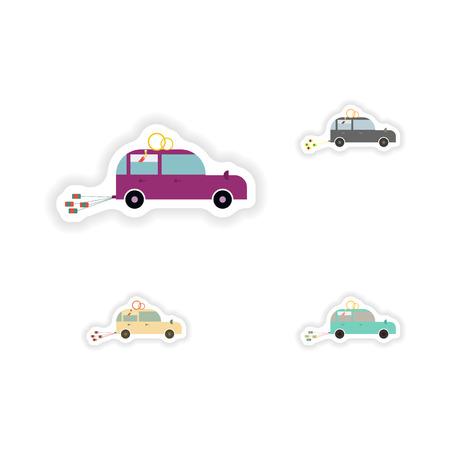 honeymoon: stylish concept paper sticker on white background  Honeymoon car