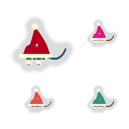 paper hats: stylish concept paper sticker on white background Cat in Santa hats Illustration