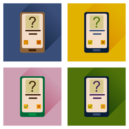 availability: Concept of flat icons with long shadow mobile Applications Illustration