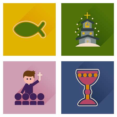 grail: Concept of flat icons with long shadow Christianity Illustration