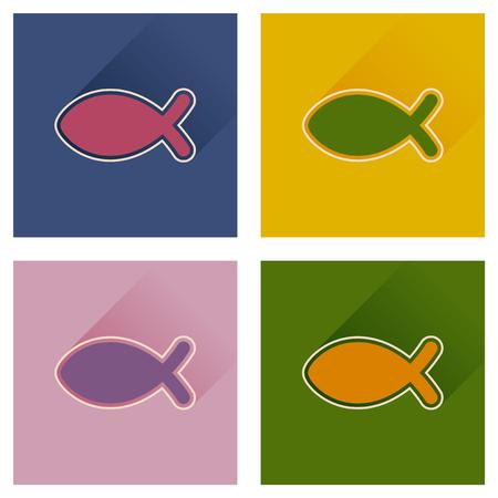 pez cristiano: Concepto de iconos planos con Christian peces larga sombra