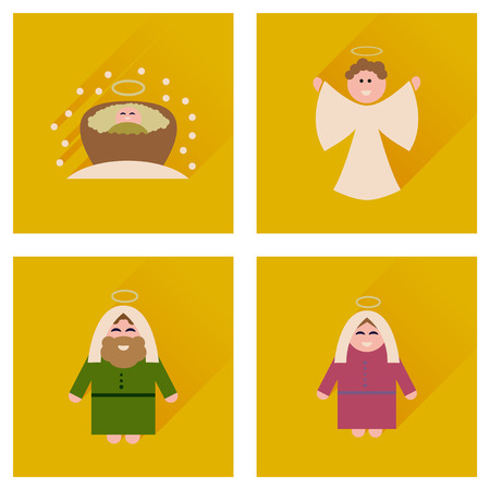 holy family: Concept of flat icons with long shadow holy Family