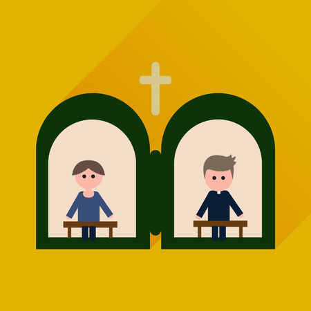 confession: Flat icon with long shadow priests confession