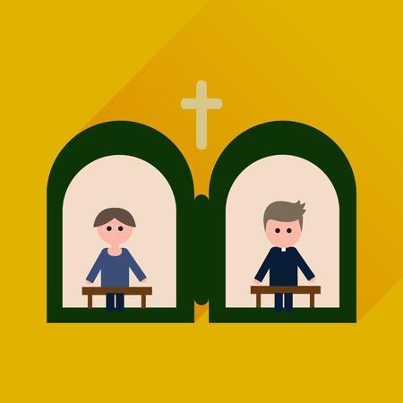 Wohnung Symbol mit langen Schatten Priester Geständnis Vektorgrafik