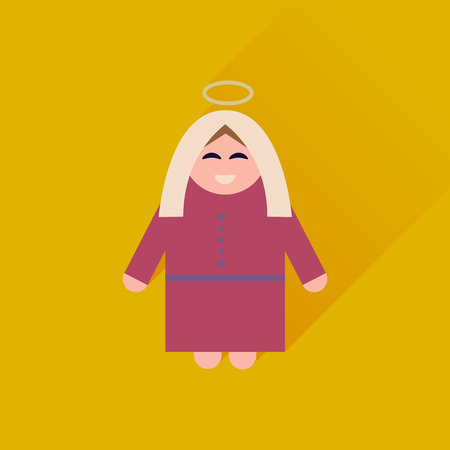 Flat icon with long shadow Mother Jesus Christ Illustration