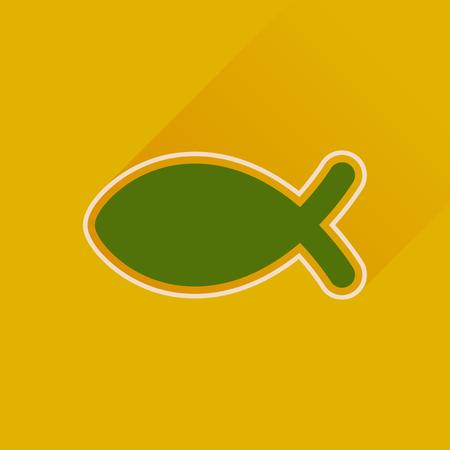 pez cristiano: icono plana con Christian peces larga sombra Vectores
