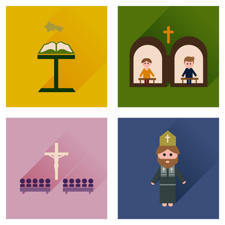 catholic mass: Concept of flat icons with long shadow Christianity Illustration