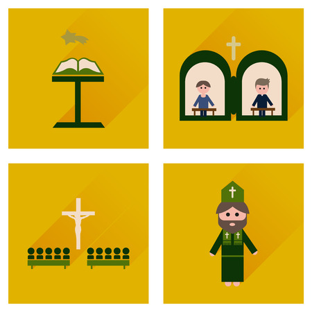 catholicism: Concept of flat icons with long shadow Christianity Illustration
