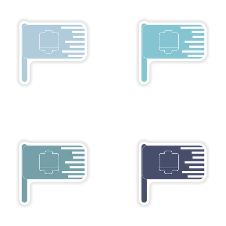 nickel: Set of paper stickers on white background  mobile battery flag