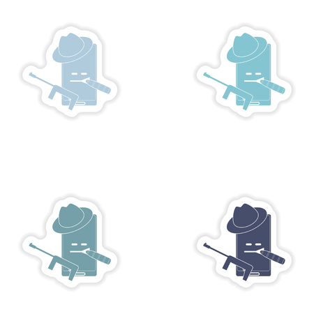 male killer: Set of paper stickers on white background  mobile phone gentleman