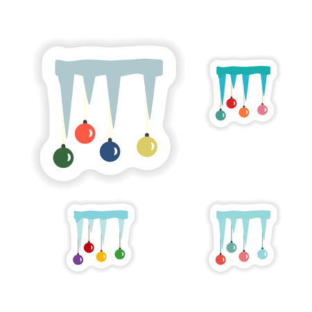 icicles: stylish concept paper sticker on white background icicles Christmas balls