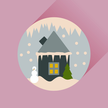 christal: Flat web icon with long shadow house in snow globe
