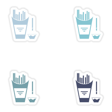 appetizers: Set of paper stickers on white background  French fries