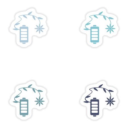 nickel: Set of paper stickers on white background  mobile battery