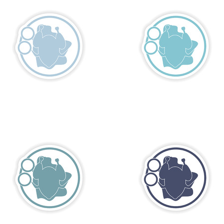 chicken dish: Set of paper stickers on white background   chicken dish