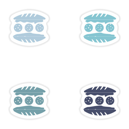 sesame seed: Set of paper stickers on white background  american hamburger