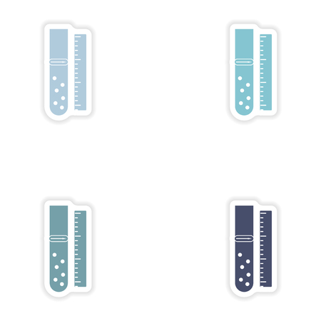 toxic substances: Set of paper stickers on white background  flask lab