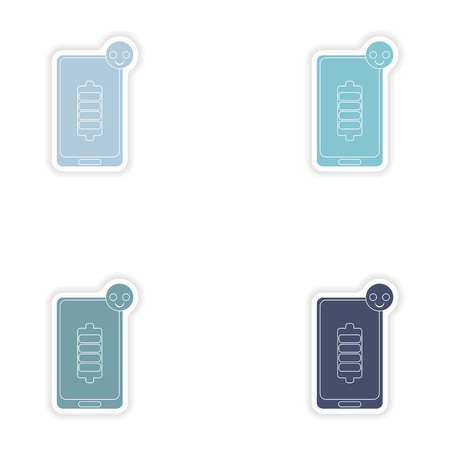 portable failure: Set of paper stickers on white background  mobile phone battery Illustration