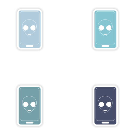 alienated: Set of paper stickers on white background  mobile phone alien
