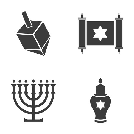 gelt: Set of flat icon in black and white style Hanukkah Illustration