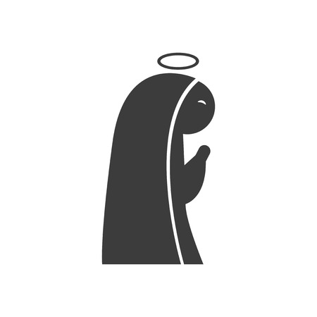 immaculate: flat icon in black and white style Virgin Mary