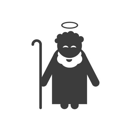 santa cena: icono plana en estilo blanco y negro padre Jes�s