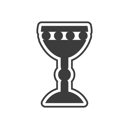 eucharistie: icone plat dans le style noir et blanc Saint Graal