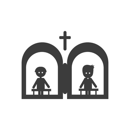 confession: flat icon in black and white style confession priest Illustration