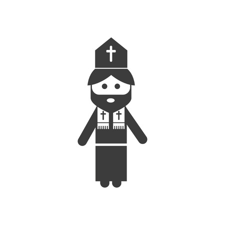 chastity: flat icon in black and white style Priest Illustration