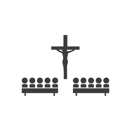 church people: flat icon in black and white style church people