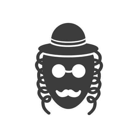 hasid: flat icon in black and white style Jew Illustration