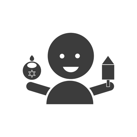 flat icon in black and white style Jewish child Illustration