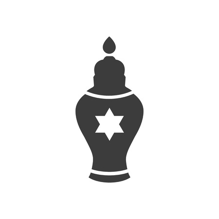flat icon in black and white style Jewish candle Illustration