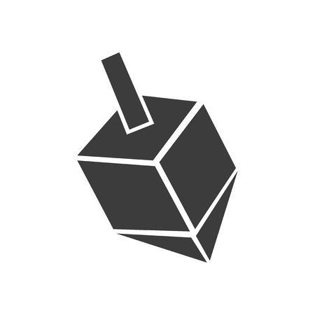 spin: flat icon in black and white style dreidel Illustration