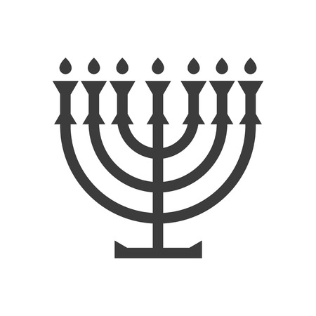 white candle: flat icon in black and white style Jewish candle Illustration