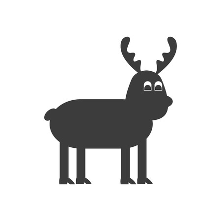 santaclause: flat icon in black and white style Christmas reindeer Illustration