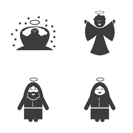 holy family: Set of flat icon black and white style holy Family